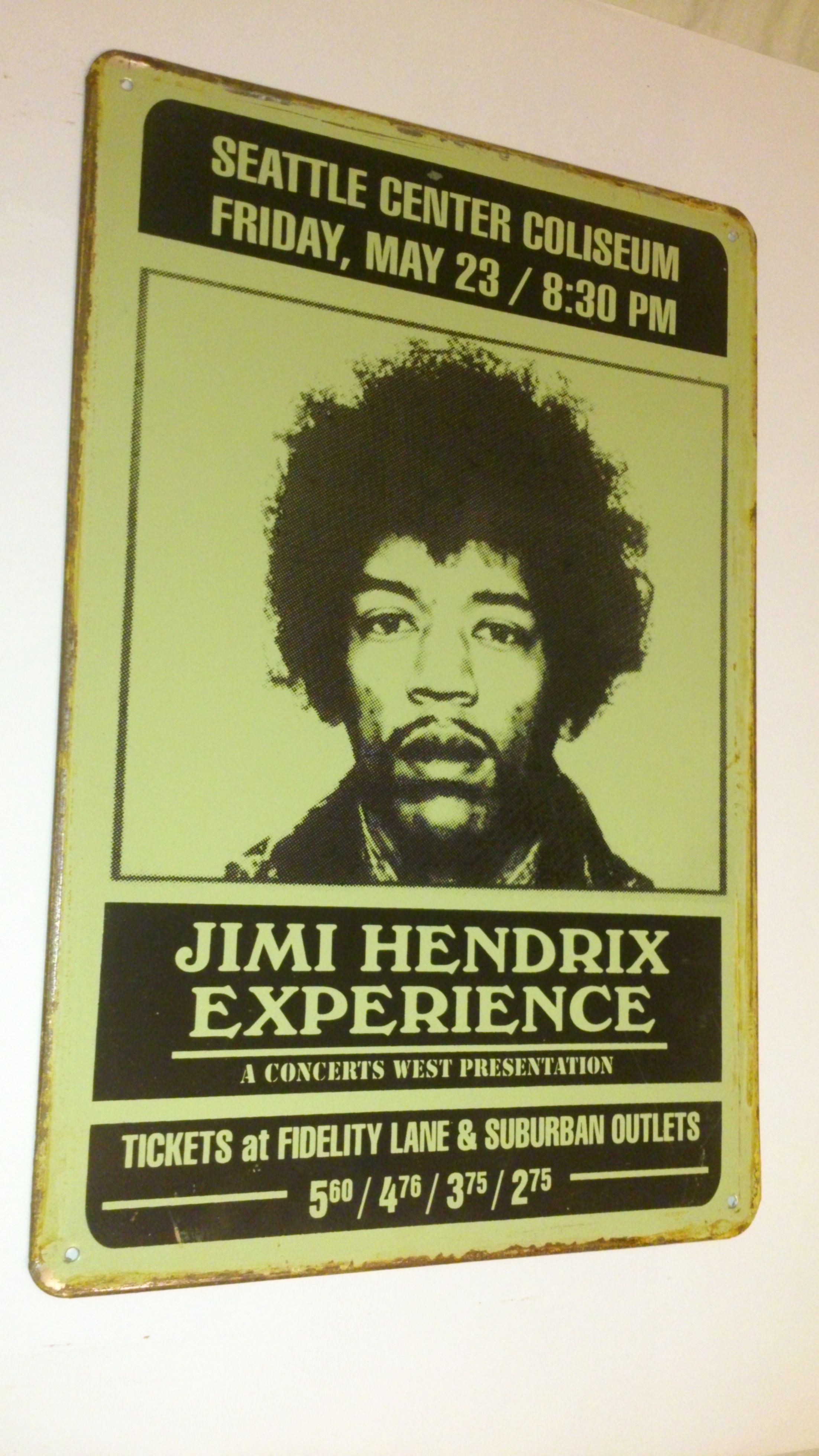 JIMMY HENDRIX EXPERIENCE ジミーヘンドリックス ブリキ看板【ハンドメイド・英国製】