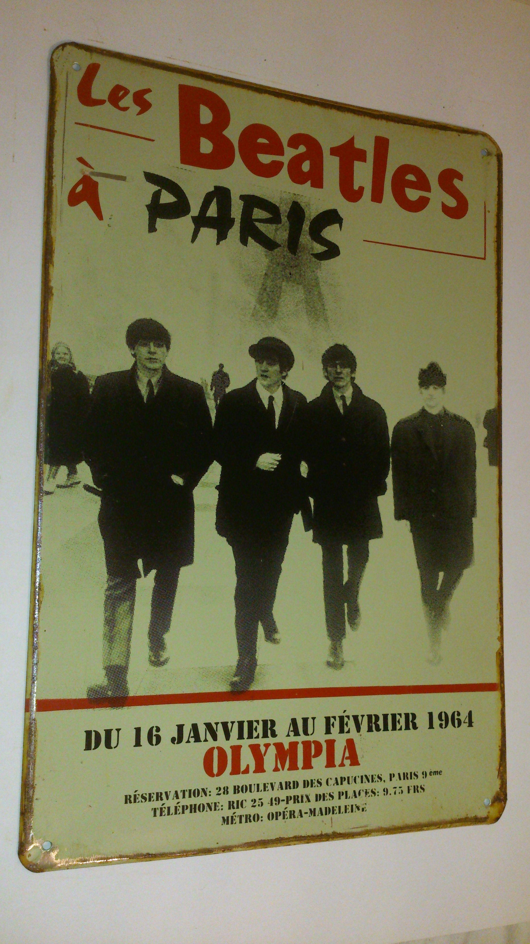 ビートルズ 公演ポスター看板【1964年 パリ公演】ハンドメイド・英国製