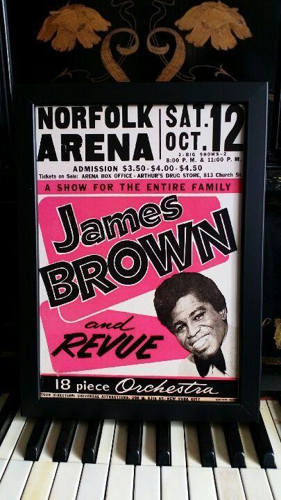 ジェイムス・ブラウン  ビンテージコンサートポスターA4 【フレーム入り】Printed in England