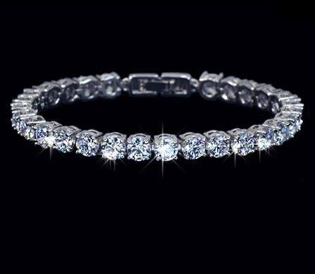 テニスブレスレット AAA+クラス大粒5mm高級CZダイヤモンド使用 上品シンプルなミニマルデザイン シルバー 銀 キラキラ レディース
