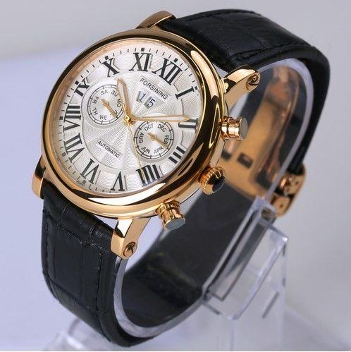 日本未発売 海外限定モデル forsining メンズ腕時計◇男性 ファッション◇ミリタリーレザーベルト 本革
