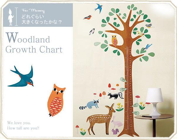 【人気No1!】身長計ウォールステッカー【Woodland Growth Chart 身長計】キッズインテリア