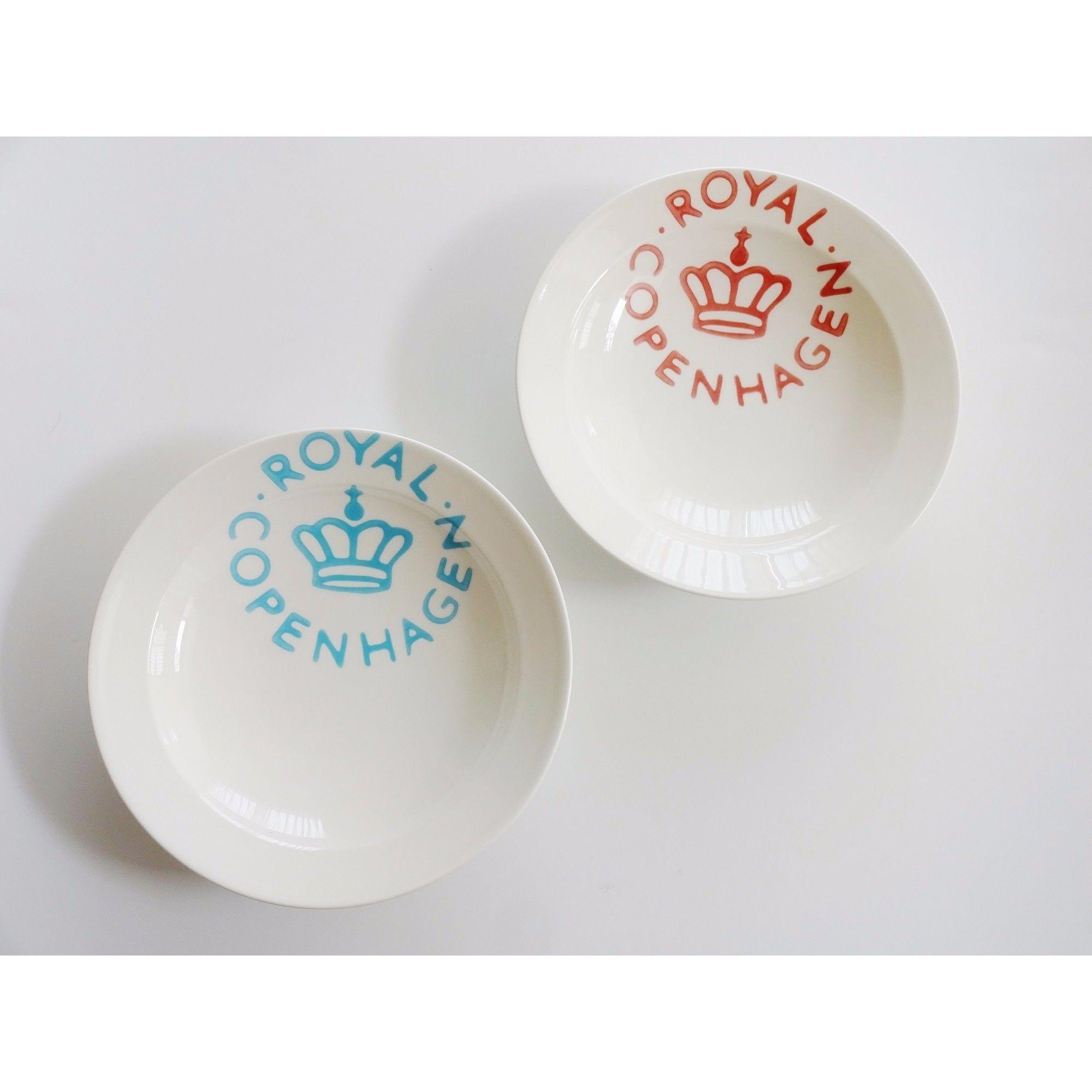 ロイヤルコペンハーゲン ニューシグネチャー スープ・パスタプレート20cmペア(ブルー・レッド)