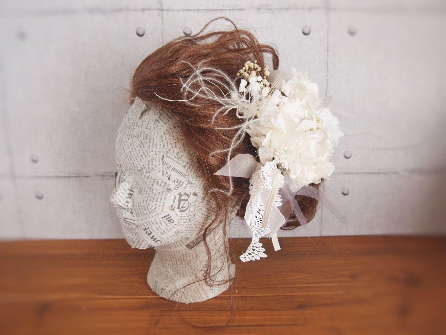 shiro プリザーブドフラワーとチュールのヘッドドレス