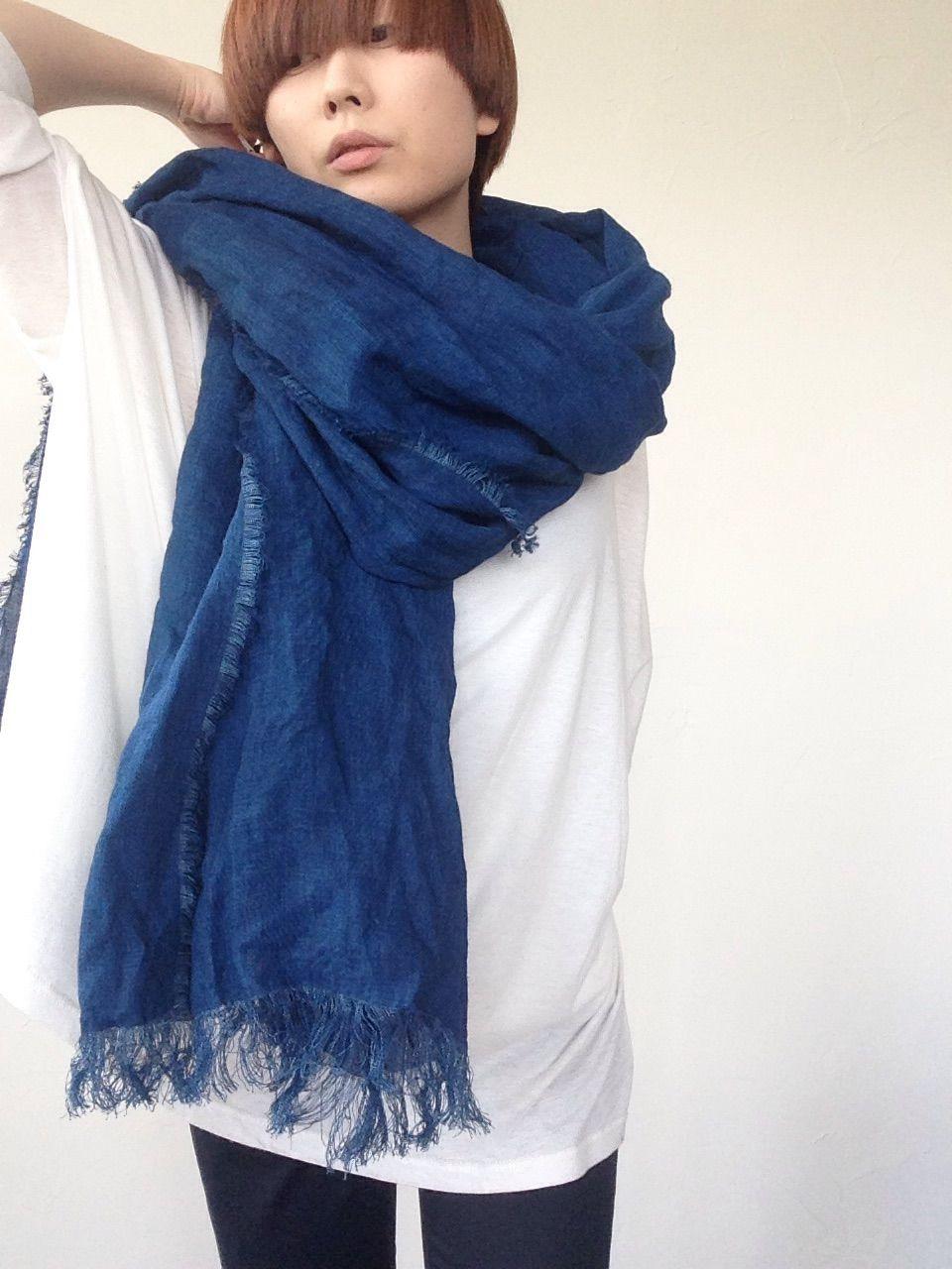 【あおもり藍コラボ】育てるリネンストール  藍色