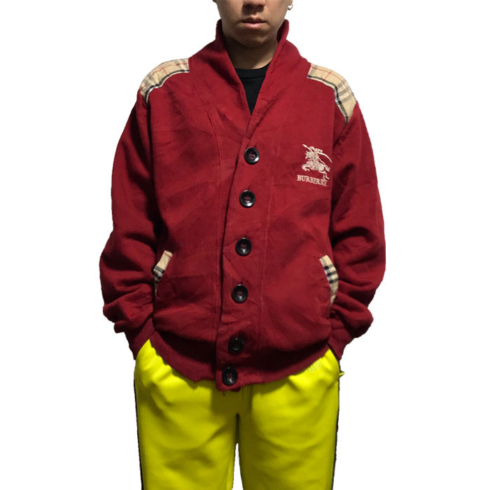 【USED】90'S BOOTLEG BURBERRY SWEAT CARDIGAN