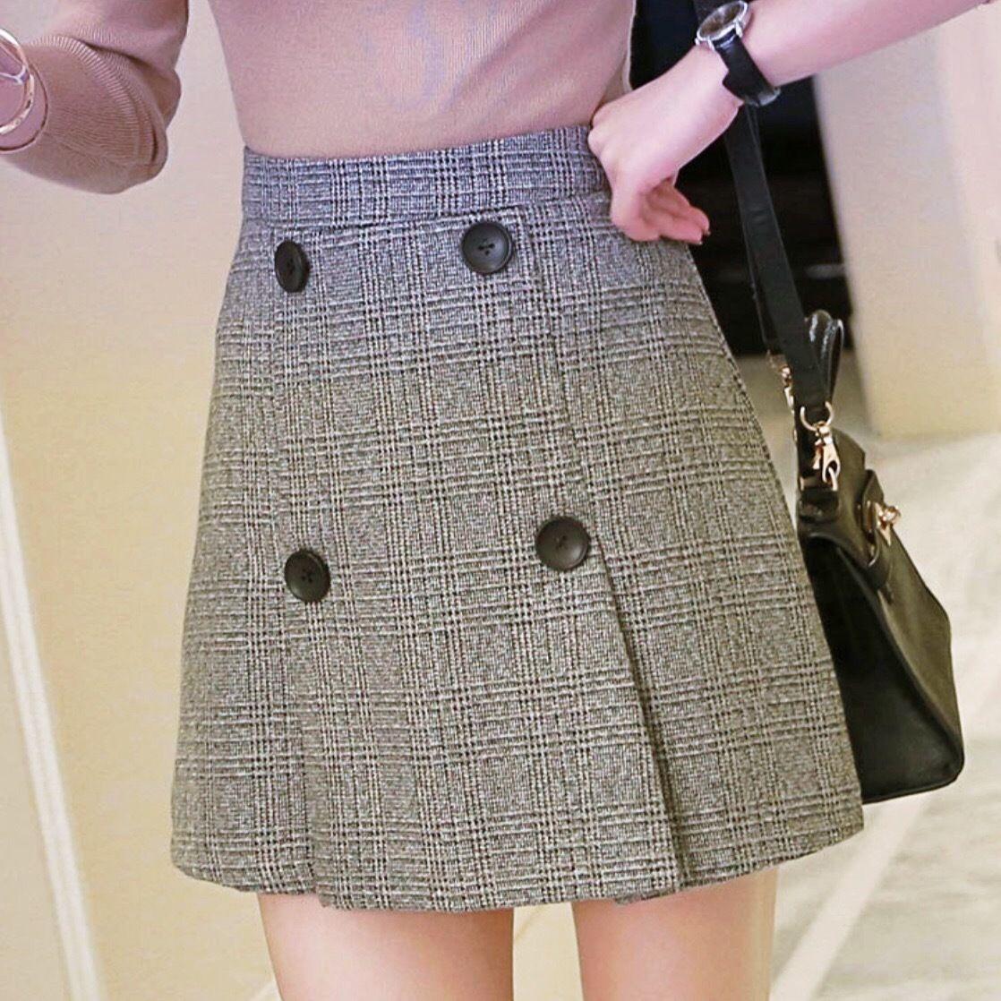 【ノーブランド品】全3サイズ ボタン付きミニスカート シンプル