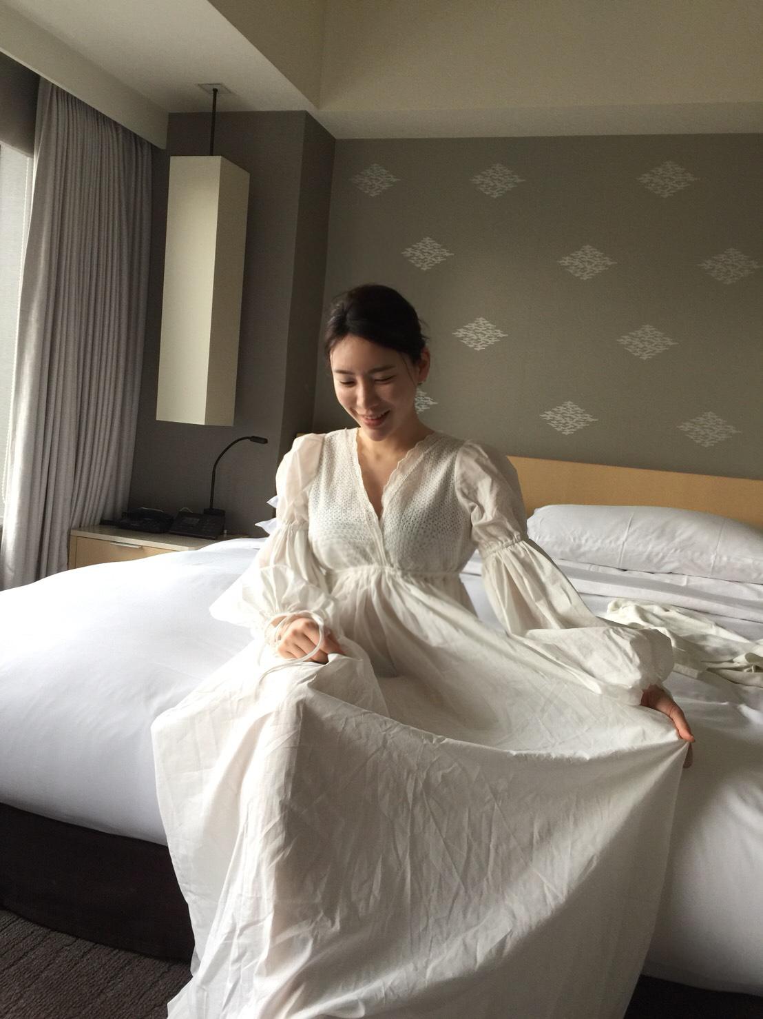 Pure 綿100%ネグリジェナイトドレス