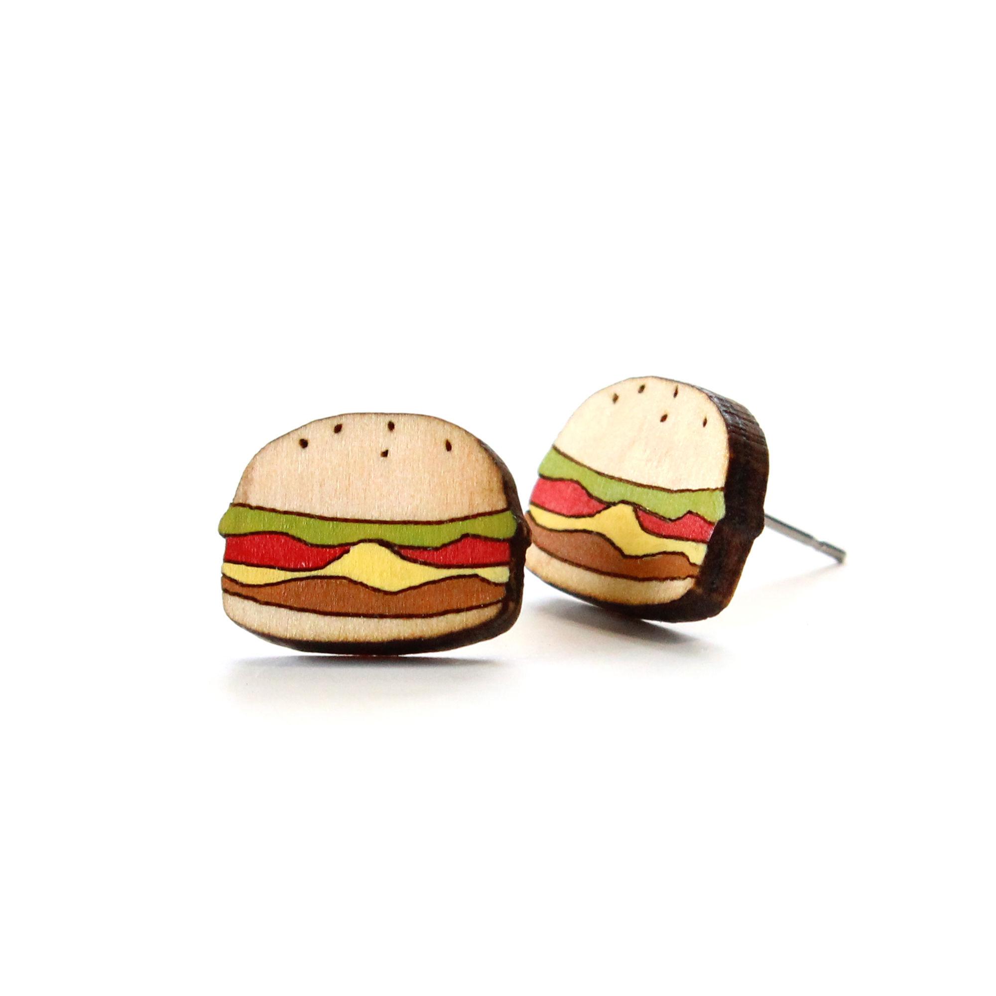 ハンバーガーの木製ピアス/イヤリング
