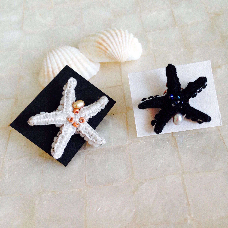 【a.e.i.】刺繍アクセサリー ~Mermaid Series~「ヒトデのピンブローチ」淡水パール付