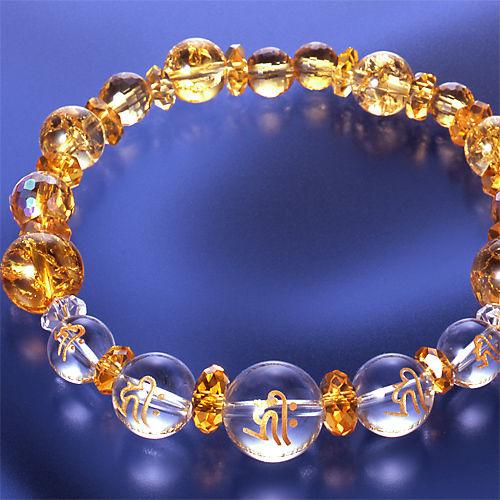 天然石 パワーストーン 金運他◆オーロラ黄水晶・梵字ブレスレット HR◆5478