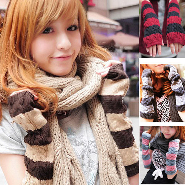 ファッション◆アウター 手袋◆ニット アームカバー ロング手袋◆fas-351