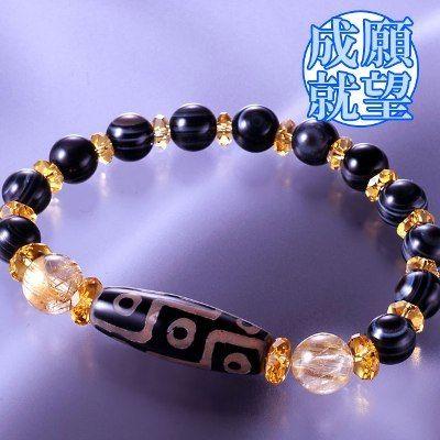 天然石 パワーストーン仕事運・金運◆金針水晶・九眼天珠ブレスレット HR◆4162