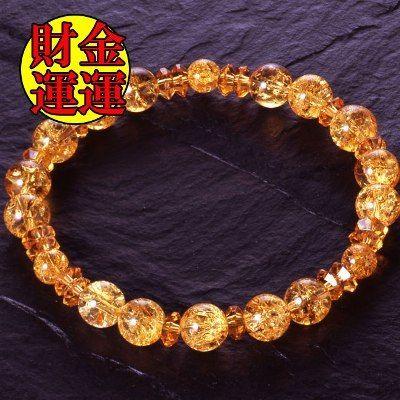 天然石 パワーストーン 金運◆黄金パワー 水晶 ブレスレット HR◆4950