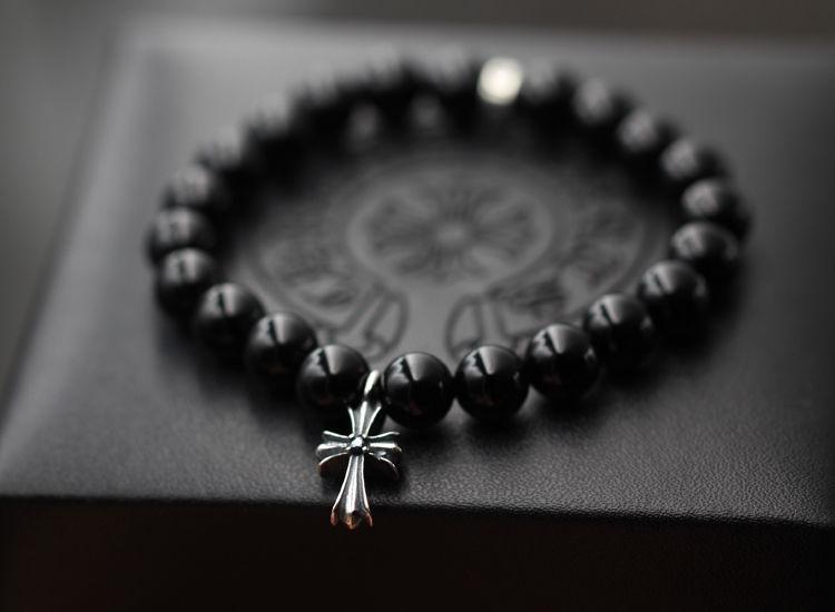 クロムハーツ/CHROME HEARTS 人気美品 十字架 黒瑪瑙ブレスレット 16/18CM 男女兼用