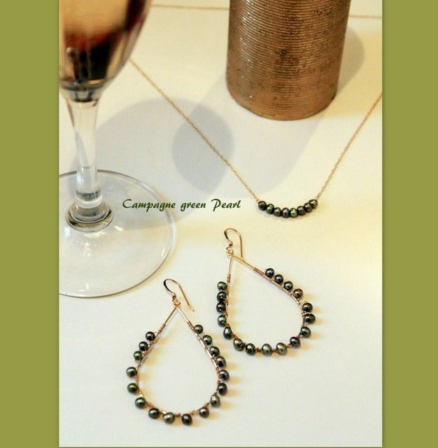 Campagne green pearl Necklace &Drop Pierce Set