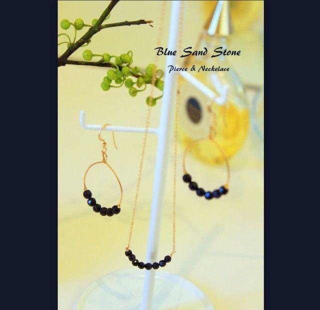 Blue Sand Stone Pierce&Necklace Set