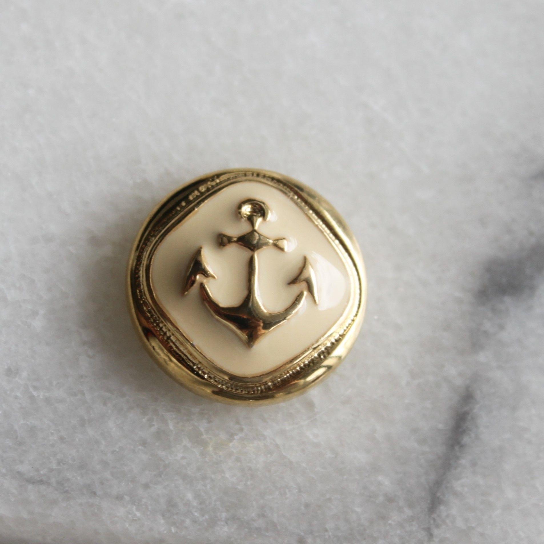 フランス現代ボタン イカリ柄クリーム一つ穴ボタン 15㎜