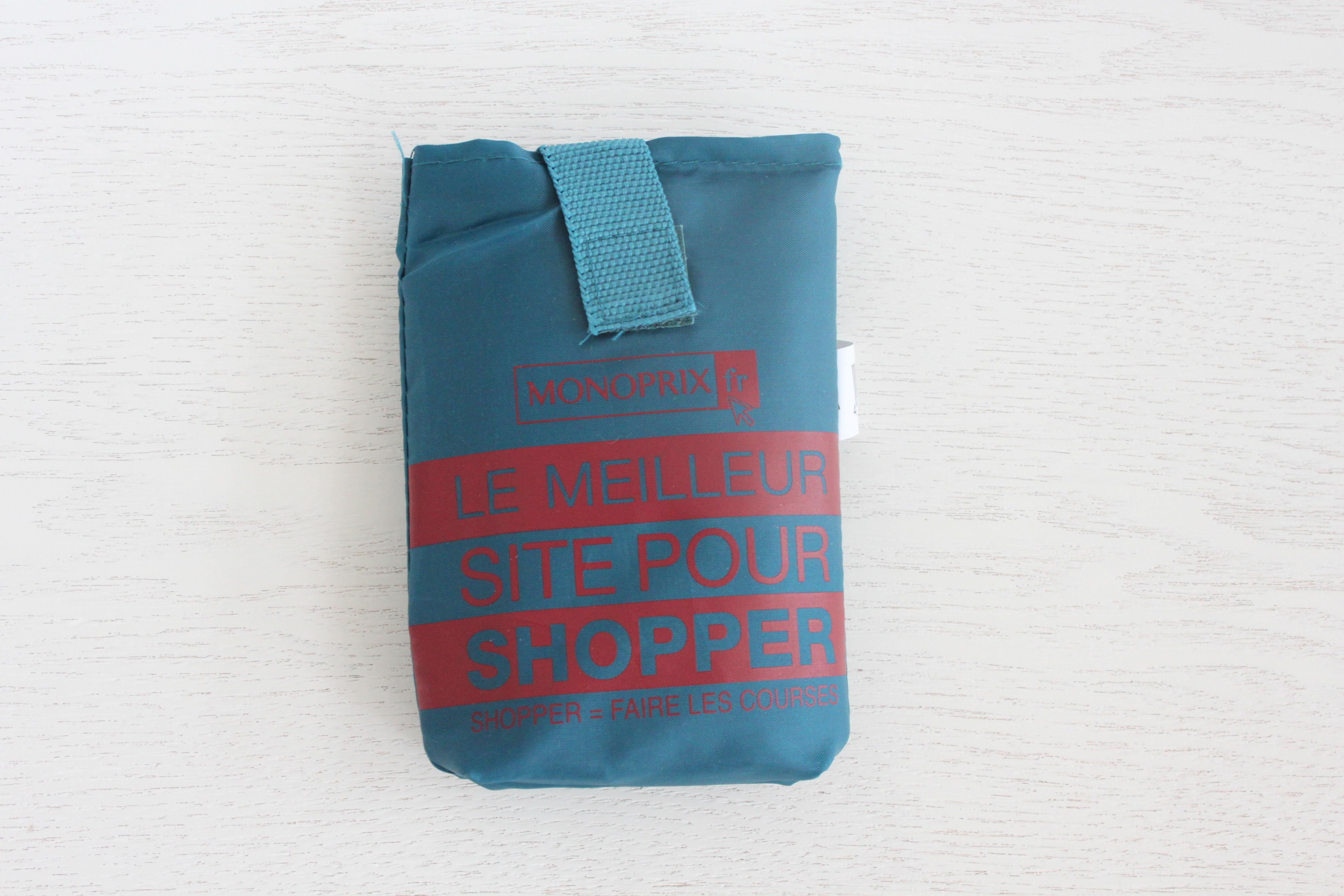 パリのスーパーMONOPRIX エコバッグ ブルーグリーン