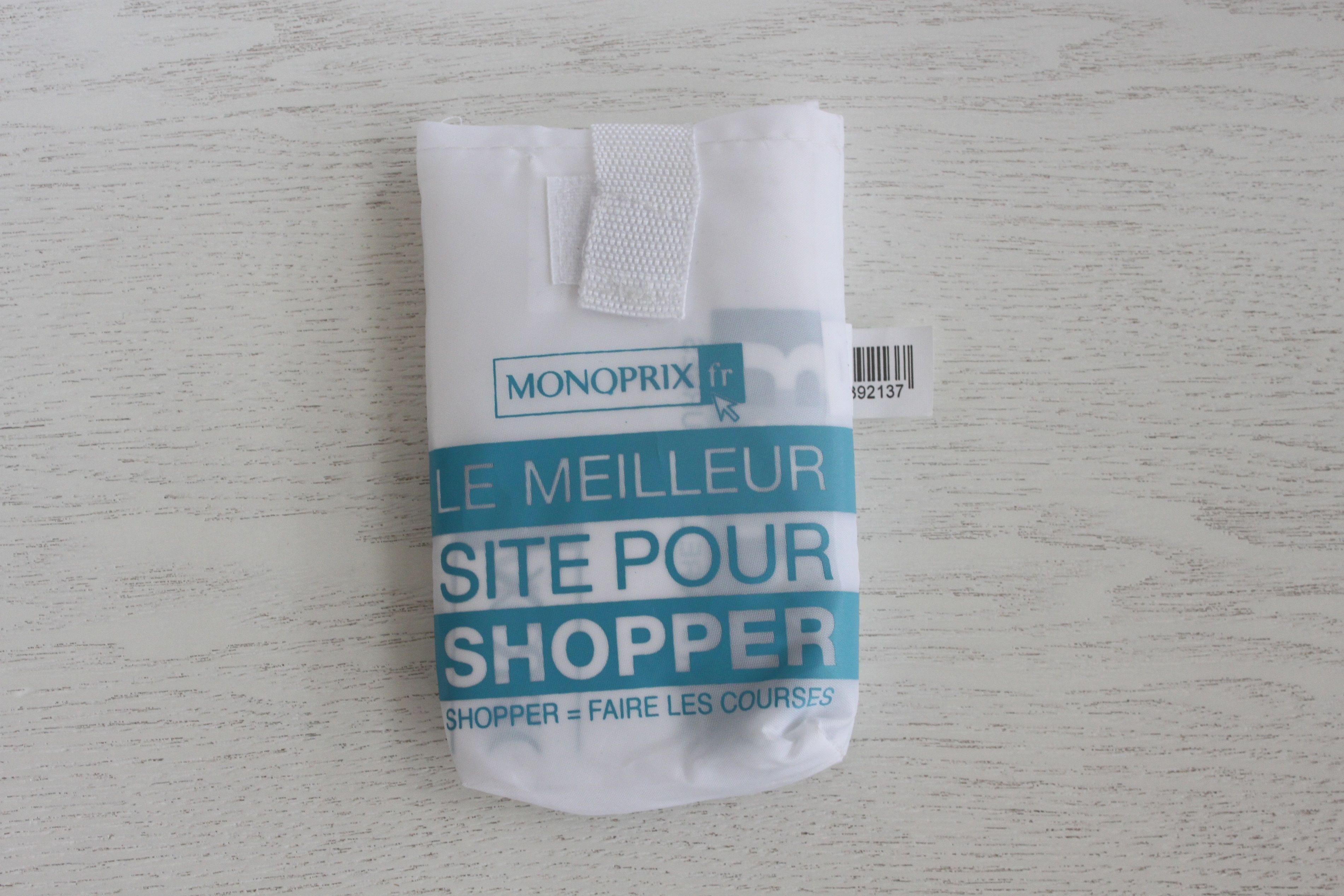 パリのスーパーMONOPRIX エコバッグ 白×水色