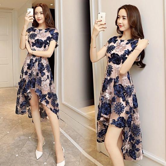 韓国ドレス パーティードレス 花柄 ボタニカル オーガンジー マキシワンピース FS033601