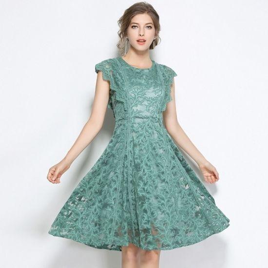韓国ドレス ボタニカル 花形 グリーン フレンチ袖 レイヤード パーティースタイル 大きいサイズ FS034901