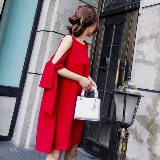 パーティードレス 韓国ワンピース  赤色 レッド ミディアム ショート ミニ丈 無地 セクシー ノースリーブ FS034601