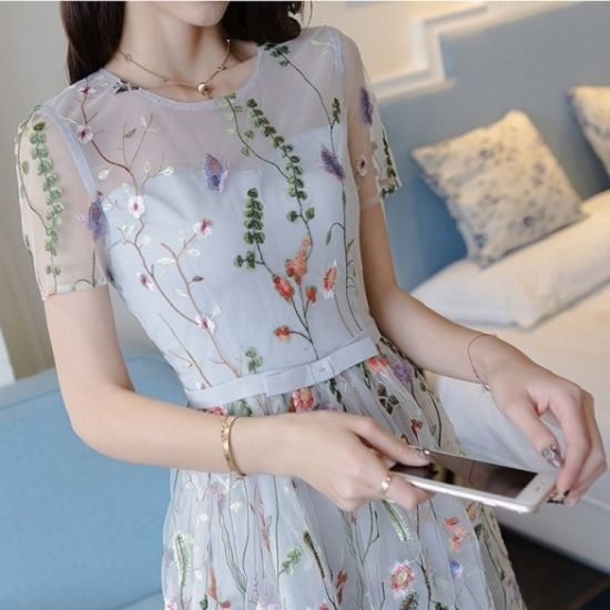 韓国 ワンピース 花柄刺繍 大人 シースルー オーガンジー パーティードレス FS029201