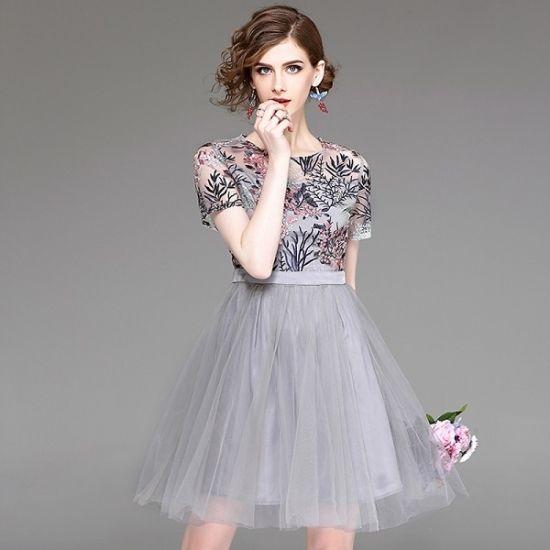 韓国ワンピース パーティードレス 花柄刺繍 高級感 セレブ チュチュ シースルー レース グレー ピンク FS034701