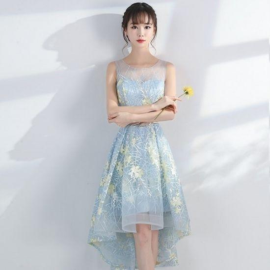 花柄刺繍 韓国ワンピース フィッシュテールスカート パーティードレス アシンメトリースカート FS067001