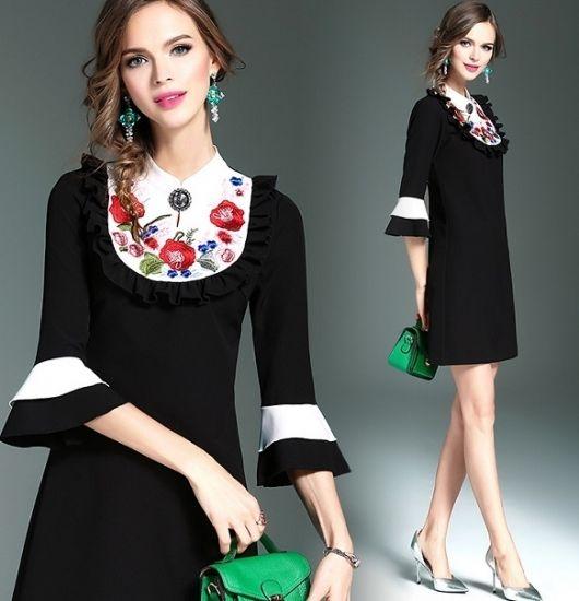 韓国ワンピ 花柄刺繍 バイカラー エレガントなワンピース FS029101