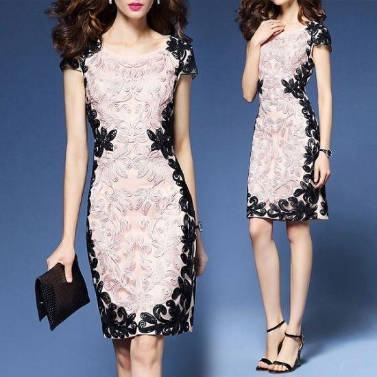韓国ドレス 花柄刺繍 Aライン スリムワンピース ミモレ丈 膝丈 ひざ丈 大きいサイズ FS033401