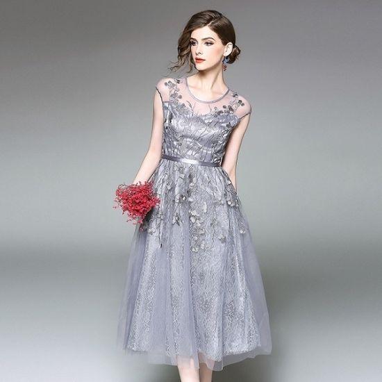 韓国ワンピース パーティードレス 花柄刺繍 シースルー お呼ばれ 二次会 長袖 FS034001