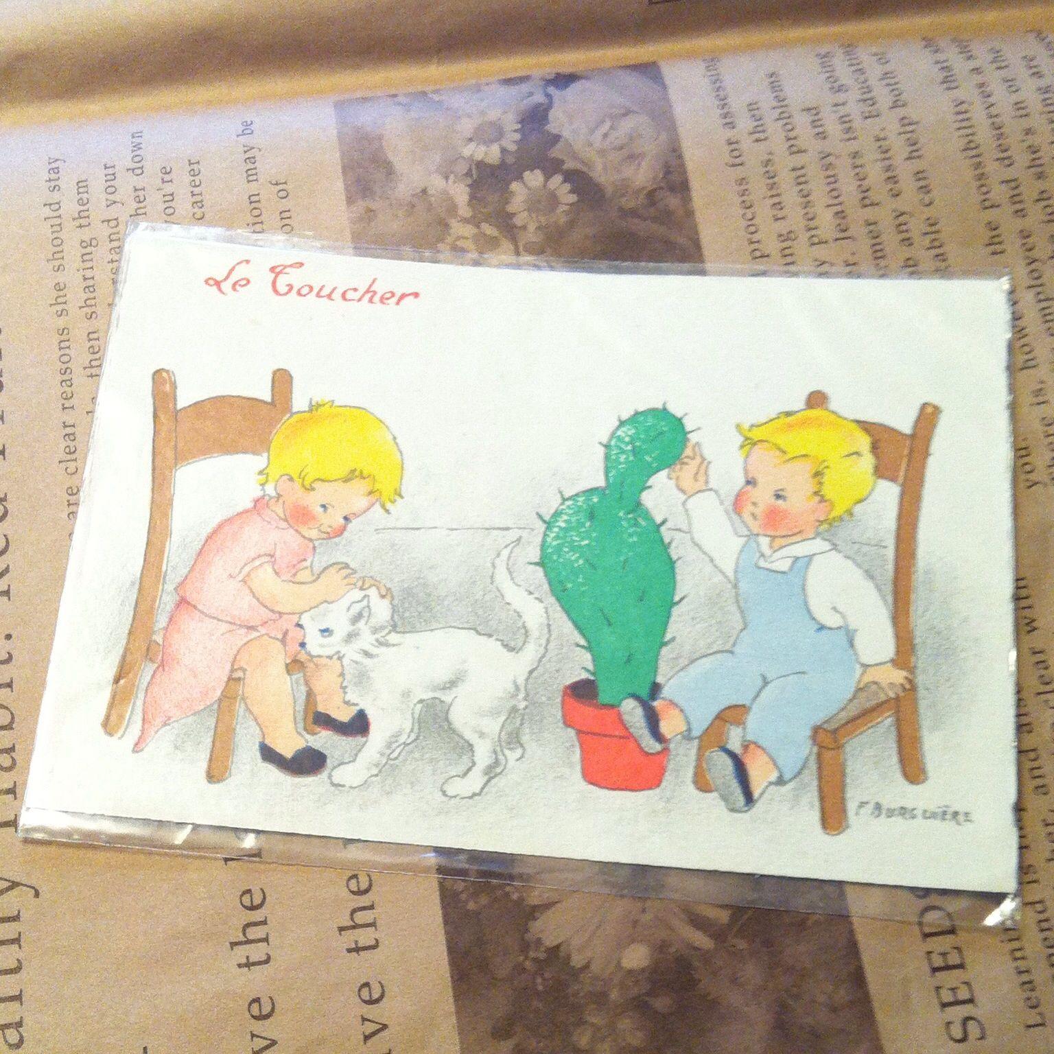 男の子と女の子 サボテン ポストカード
