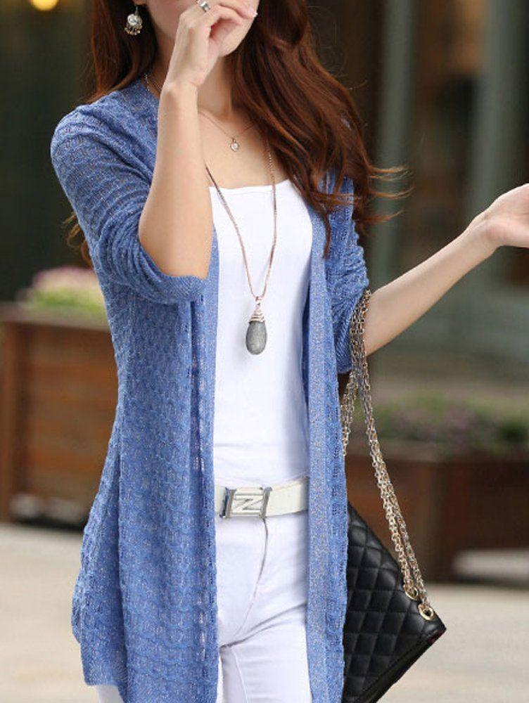 レディース 綿混 薄手 透かし編み 長袖 ニット ロング カーディガン 冷房対策 日焼け防止(sa129)