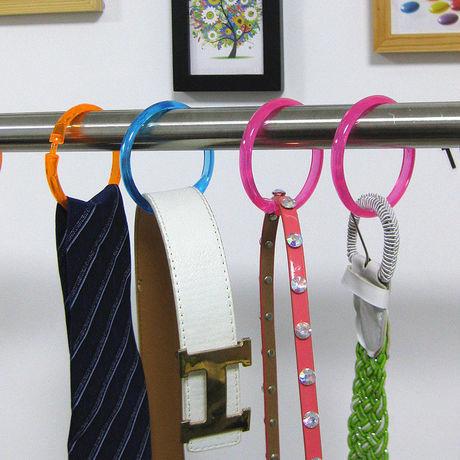 ベルトやネクタイをかけられる クローゼットの中をすっきり収納★ リングハンガー 収納用 カラフルリング 10個セット