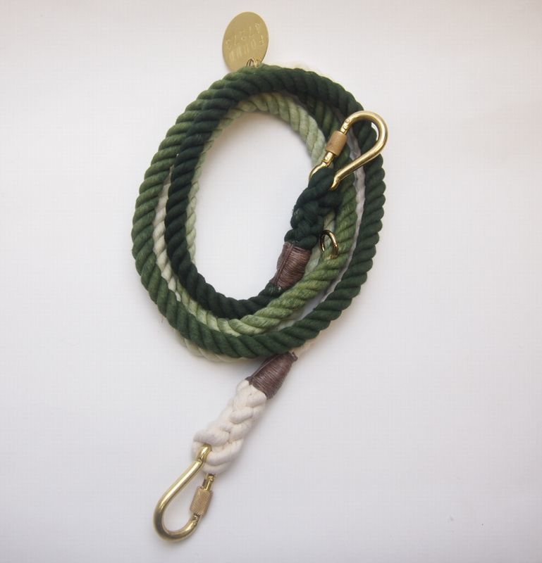 Found My Animal ADJUSTABLE ROPE DOG LEASH(OLIVE OMBRE )