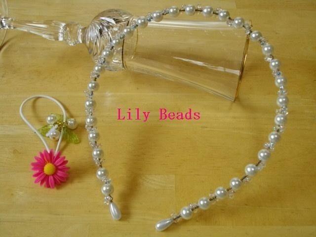 Lily Beads カチューシャ&プラゴム(1個)ピンクマーガレット