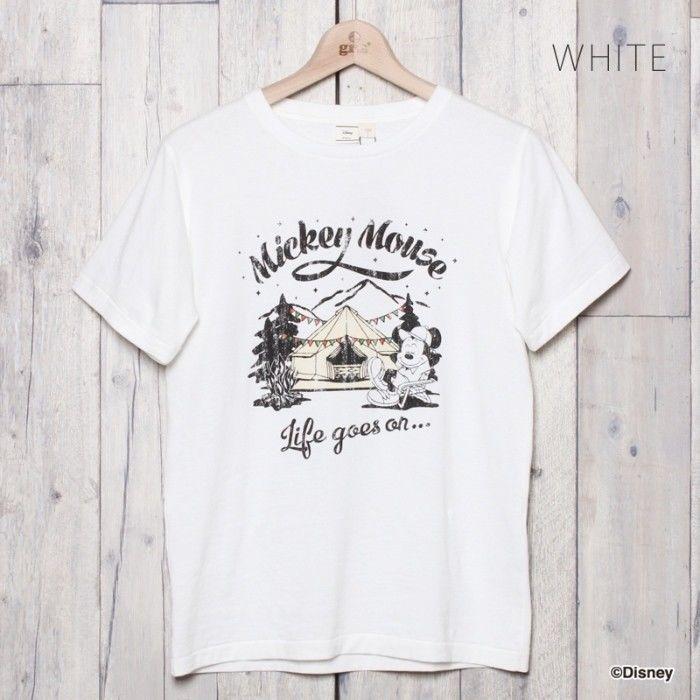 MICKY キャンププリントTシャツ  (WHITE)