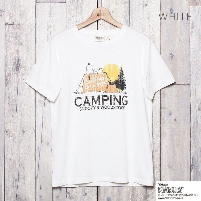 SNOOPY キャンププリントTシャツ  (WHITE)