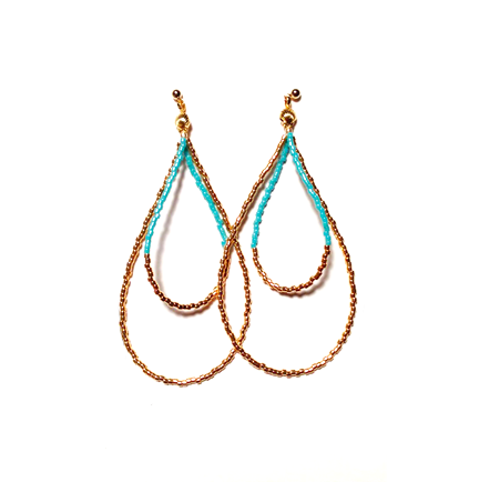 Beads hoop pierce <turquoise gold>