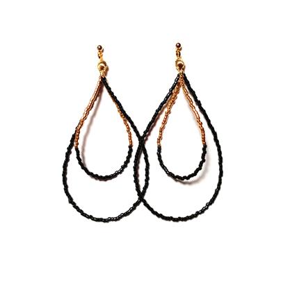 Beads hoop pierce <gold black>