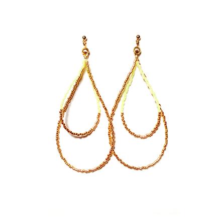 Beads hoop pierce <yellow gold>