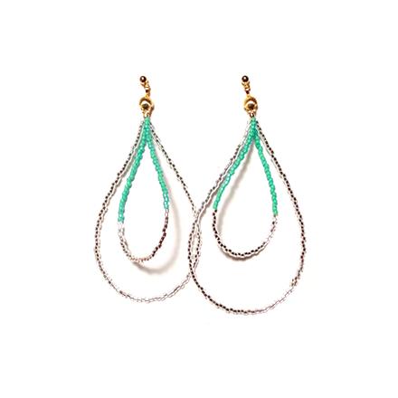 Beads hoop pierce <emerald green silver>