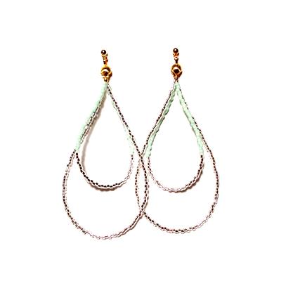 Beads hoop pierce <mint green silver>