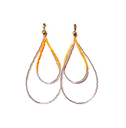 Beads hoop pierce <orange silver>