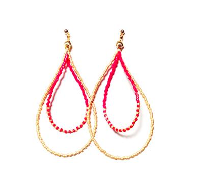 Beads hoop pierce <red stripe matgold>