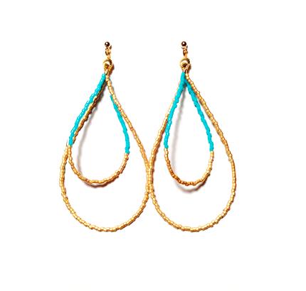 Beads hoop pierce <turquoise matgold>