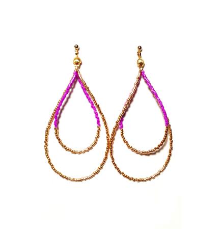 Beads hoop pierce <purple gold>