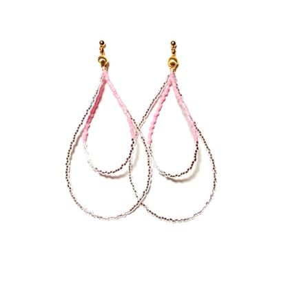 Beads hoop pierce <pink silver>